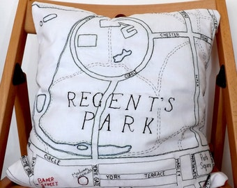 Regents Park London Embroidered Map Cushion