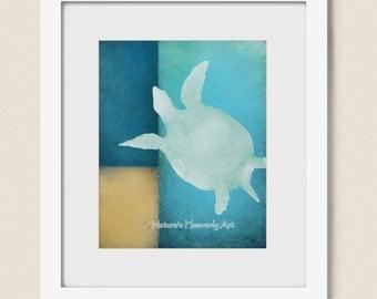 Sea Green Beach House Wall Decor 8 x 10 Art Print, Ocean Blue Tropical Sea Turtle Wall Art (221)