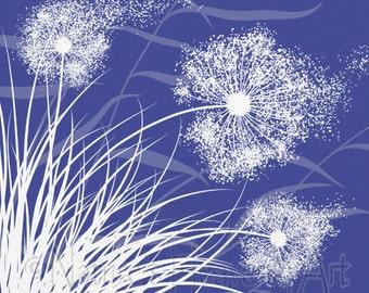 Bright Blue Dandelion Art 5 x 7 Print, Girls Room Wall Art, Wind Blowing Grass (90)