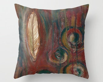 Zen Feather Pillow Cover 16x16, 18x18 or 20x20