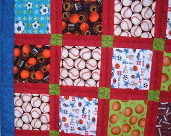 Sports Twin Quilt in Blue and Red for Boys