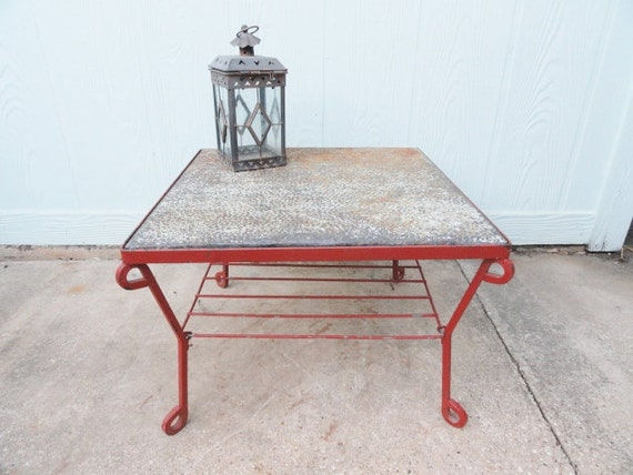 Vintage Table Coffee Side End Wrought Iron Retro Red Rustic