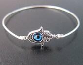 Hamsa Evil Eye Bracelet, Turkish Jewelry, Beaded Evil Eye Silver Bracelet, Third Eye, Turkish Bracelet, Evil Eye Bangle, Evil Eye Jewelry