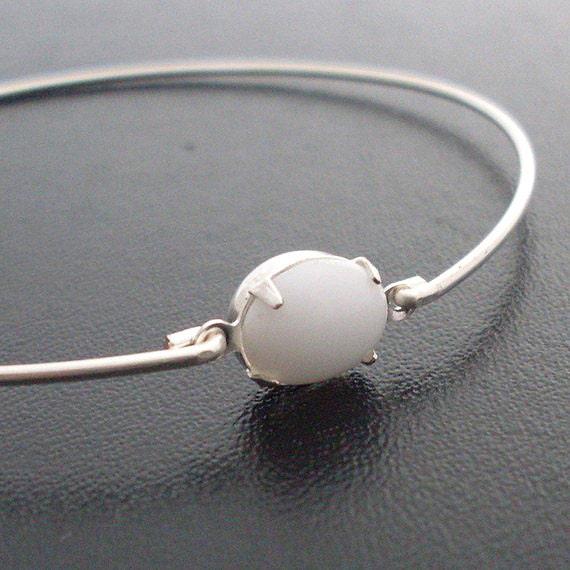 White Bangle Bracelet, Jelena - Silver, White Glass, White Bracelet, White Jewelry, White Stone Bracelet, White Stone Jewelry
