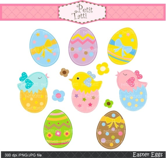 Easter day Digital clip art Easter egg clip art cute by petittatti