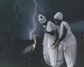 "African American Art. Collage. Taming Lightning. Collage. PRINT 7"" x 5"""