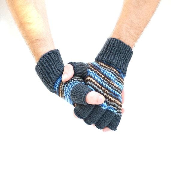 Men's fingerless gloves charcoal blue multicolor gift for him winter accessories Christmas mens gift