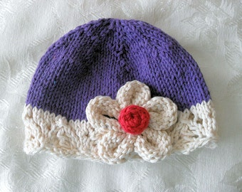 Baby Hat, Knitting Knit Baby Hat Knitted Baby Hats Knitted Lace Hat children clothing Cotton Knit Baby Hat with Flower Hat Infant Baby Hat