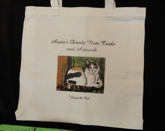 Luna the Cat on off-white cotton tote bag
