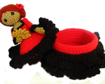 Amigurumi trinket box doll spanish flamenco dancer crochet pattern sewing notions doll box PDF secret compartment doll diy tutorial