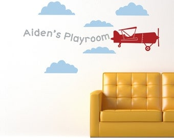 CUSTOM NAME Skywriter Biplane With Clouds Vinyl Sticker Decal Original Graphic by DECOmod Walls