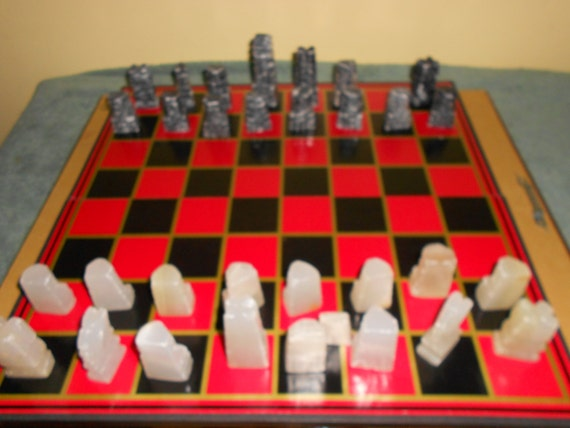 Vintage Aztec Mexican Marble Onyx Carved Chess Game Set