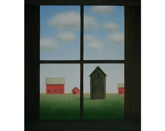 "FARM Painting FOLK Art 12 x 16"" Outhouse Privy Red Barn Painting Original Contemporary Fine ART Rural Country Landscape Art Gift"