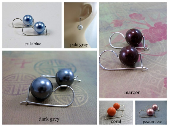 Large Swarovski Pearl Drop Earrings,  Platinum Pearls, Sterling Silver Kidney Earwires, Travel Safe, CHOOSE YOUR COLOUR