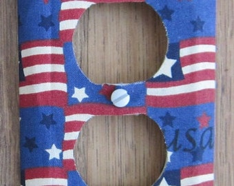 USA Flag Fabric Covered Outlet Cover