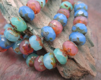 Bahama Mix 6x8mm Rondell Czech Glass Beads