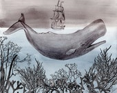Pen and Ink Illustration-  Watercolor Painting - Whale Art - Gift for Him - The Sea - 8 x 10 Giclee Print - Drawing