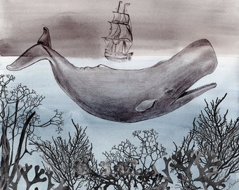 60% Off SALE - Gift for Him - Pen and Ink Illustration-  Watercolor Painting - Whale Art - Gift for Him - The Sea - 11x14 Giclee Print - Dra