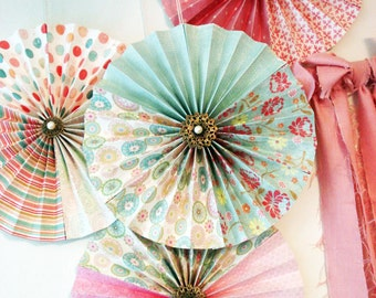 8 Vintage Chic Embellished Paper Rosette Party Decorations Dessert Table Decorations - By My Lady Dye