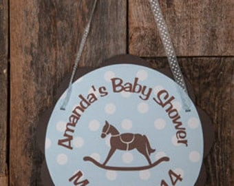 Blue Rocking Horse Baby Shower Door Hanger, Rocking Horse Theme Welcome Sign in Blue and Brown, Baby Shower Decoration, It's a Boy