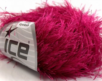 LONG EYELASH gypsy PINK superbulky chunky 50gr polyester ice yarns usa fancy fur craft rug 1 skein ships from usa at usps cost 13276