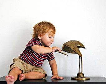 Huge Brass Bird Crane/Egret Statue