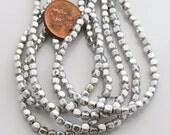 50 Czech Silver Beads, Cube Metallic Glass Beads