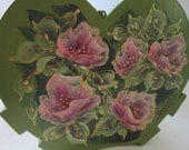 Quaint Wood Container, MontanaRosePainter, Hand Painted, Hot Pea Green, Bright Pink Roses
