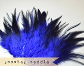 50 pcs+ - ROYAL BLUE - Rooster Saddle feathers - 2 inch strip - two-tone, pointy tip, shiny feathers, exotic feathers (RS010)