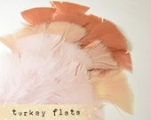 36 pcs - NUDE MIX - Turkey Feathers - soft, flat tipped loose feathers No:3 5 6.