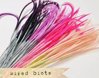 PURPLE n' PINKS MIX - Goose Biots on Wire - could be curled - premium millinery supply, fishing supply, fly tying