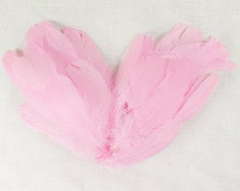 60-80pcs Goose Satinettes loose feathers, 6 grams, PINK