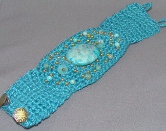 Turquoise Crocheted and Bead Cuff