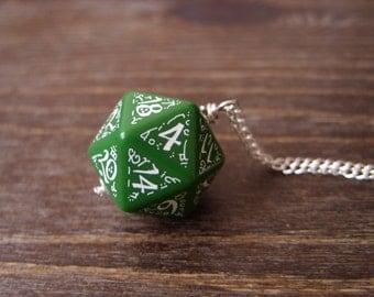 dark elf dice pendant elvish d20 dice rgp larp green white inscriptions elvish runes dark elf tolkien fantasy