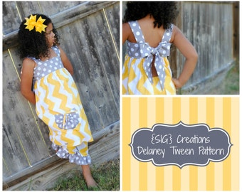 "INSTANT DOWNLOAD SIG Delaney Dress/Top Pattern - Size 8 Youth to 14 Youth, Tween, & 18"" Doll"