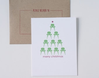 Value Pack of 20 Christmas Card, Holiday Cards, Modern Christmas Card, Modern Holiday Card, Eames Chair Card Christmas Tree Contemporary