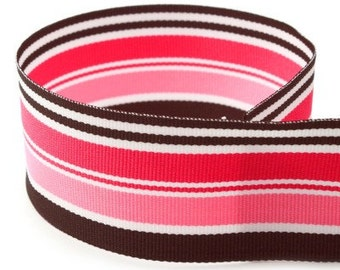 "DISCONTINUED SALE---1.5"" Inch Grosgrain Ribbon---5 YARDS---Stripes---Pink White Black Hot Pink----Hair bow Making Supplies"