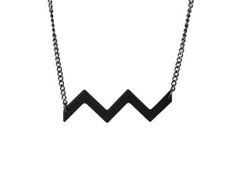 Matte Black Chevron Necklace