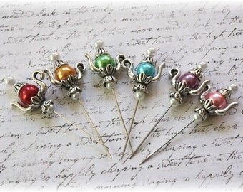Teapot Stick Pins Bright Collection,  for Scrapbook, Cardmaking, Mini Album, Tag Art