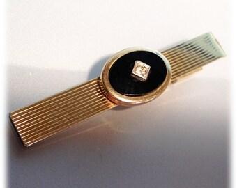 Vintage 1950s Madmen Era Goldtone Kreisler Tie Clasp Onyx Crystal Stone