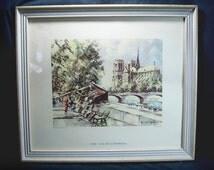Vintage Framed Art / 1950s Maurice Legendre Matted & Framed Paris Print from Lithograph Under Glass / Quai de la Tournelle