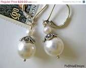 On Sale Swarovski and Fresh Water Pearl Sterling Silver Earrings - Juliette