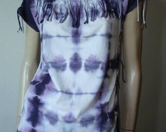 womens shredded braided fringe tshirt. small/med. blue white lavender tiedye