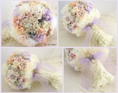 Lace Brooch Bouquet, Peach Bouquet, Wedding, Bridal, Jeweled, Lilac, Ivory, Blush, Linen, Chiffon, Crystals, Pearls, Pastels, Garden Wedding