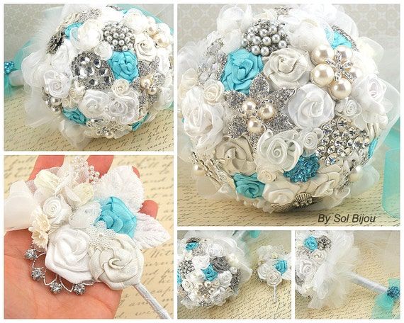 Brooch Bouquet, Ivory, Cream, Aqua, Blue, Silver, Turquoise, White, Elegant Wedding, Vintage Style, Bridal, Jeweled, Crystals, Pearls, Lace