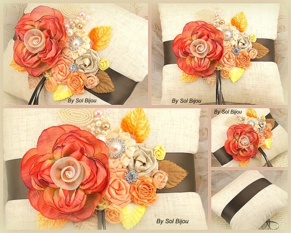 Ring Bearer Pillow, Chocolate Brown, Burnt, Orange, Gold, Tan, Yellow, Peach, Spring Wedding, Fall Wedding, Lace, Crystals, Pearls, Elegant