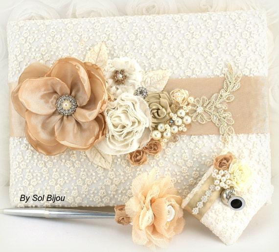 Guest Book, Champagne, Beige, Tan, Ivory, Gold, Wedding, Bridal, Signature Book, Signing Pen, Lace, Crystals, Pearls, Vintage, Gatsby
