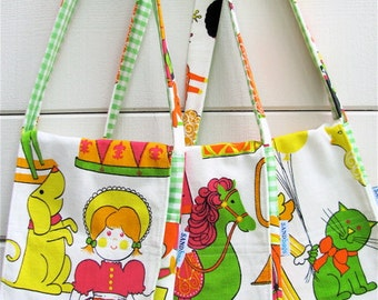 Vintage Toy Land Girl Messenger - Neon Mid Century Print Toddler Cross Body Hip Bag - Horse / Cat   - Eco Friendly Kids - Limited Edition