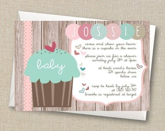 Cupcake in the Oven - Baby Girl Shabby Shower Invitation
