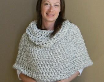 Erin Cowl neck Capelet poncho shawl - grey white